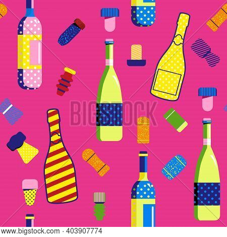 Seamless Pattern In Pop Art Style With Champagne And Wine Bottles And Cork Stoppers. Different Types