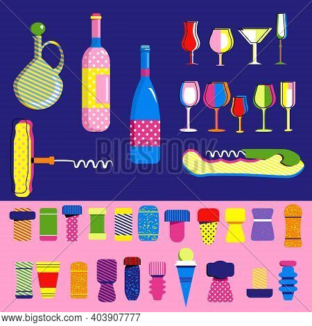 Cork Stoppers And Wine Collection In Pop Art Style. Different Types And Forms Bungs And Plugs,alcoho