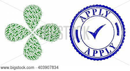 Apply Explosion Flower With Four Petals, And Blue Round Apply Rough Seal With Icon Inside. Object Ce