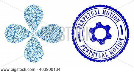Air Cooler Rotation Flower With Four Petals, And Blue Round Perpetual Motion Unclean Badge With Icon