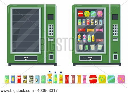 Vending Machines And Snacks Set. Chips, Bars, Canned Drinks And Automate With Empty Shelves. Vector