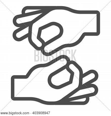 Sign Language Line Icon, Disability Concept, Finger Language Sign On White Background, Finger Langua