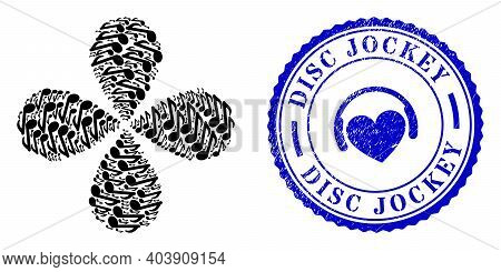 Music Note Rotation Composition, And Blue Round Disc Jockey Corroded Stamp With Icon Inside. Object