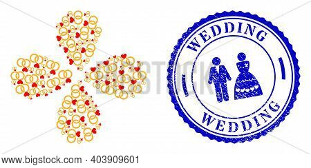 Wedding Rings Rotation Burst, And Blue Round Wedding Rough Rubber Print With Icon Inside. Element Fl
