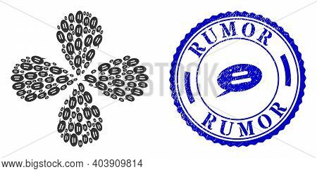 Text Message Exploding Flower With Four Petals, And Blue Round Rumor Unclean Stamp With Icon Inside.