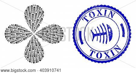 Dead Fish Exploding Flower With Four Petals, And Blue Round Toxin Unclean Stamp Imitation With Icon