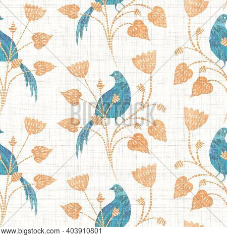 Watercolor Bird Flower Motif Background. Hand Painted Earthy Whimsical Seamless Pattern. Modern Flor