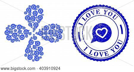 Favourite Heart Message Explosion Flower With Four Petals, And Blue Round I Love You Dirty Stamp Sea