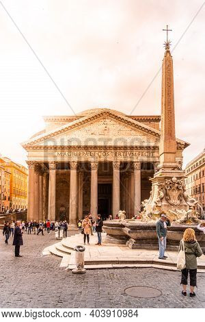 Rome, Italy - May 05, 2019: Pantheon And Fontana Del Pantheon With Monumental Obelisk On Piazza Dell