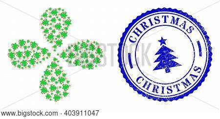 Christmas Fir Tree Curl Flower With Four Petals, And Blue Round Christmas Scratched Seal With Icon I