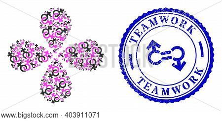 Lesbian Symbol Curl Flower With Four Petals, And Blue Round Teamwork Rubber Seal With Icon Inside. E