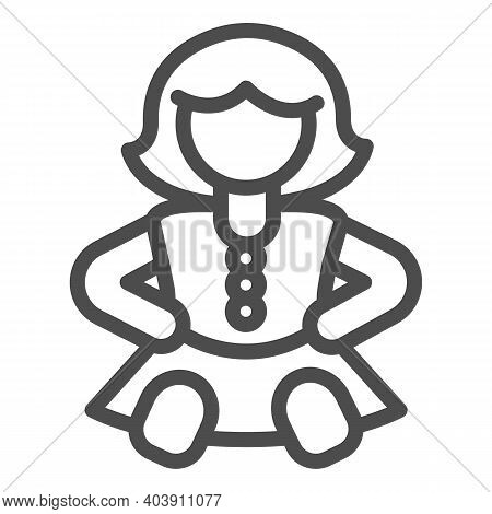 Doll Girl In Dress Line Icon, Kid Toys Concept, Retro Doll Sign On White Background, Baby Doll Icon