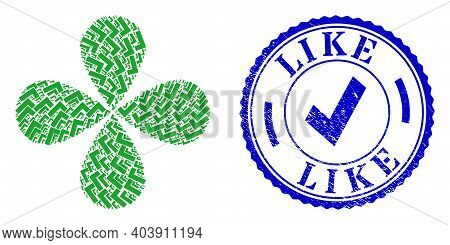 Apply Tick Centrifugal Flower Shape, And Blue Round Like Scratched Stamp Seal With Icon Inside. Elem