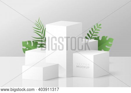 3d Scene With White Cube Boxes And Green Tropical Leaves Behind. Blank Stage Podium For Product Pres