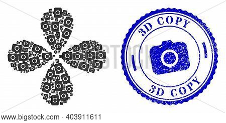 Photocamera Swirl Flower Cluster, And Blue Round 3d Copy Rough Badge With Icon Inside. Element Flowe