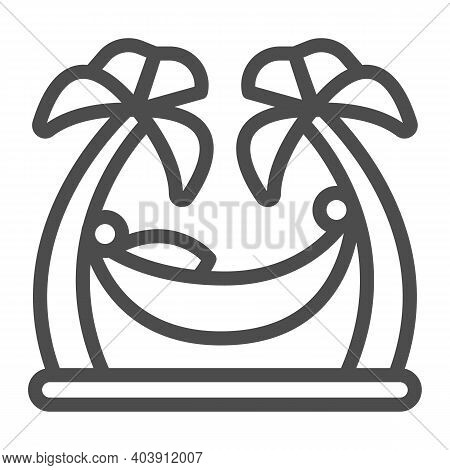Hammock Between Palm Trees Line Icon, Waterpark Concept, Beach Hammock Sign On White Background, Man