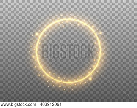 Golden Circle On Transparent Backdrop. Glowing Ring Effect With Glitter. Round Gold Frame And Magic