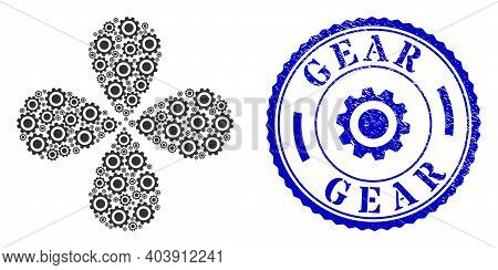 Gear Centrifugal Abstract Flower, And Blue Round Gear Unclean Stamp With Icon Inside. Element Centri