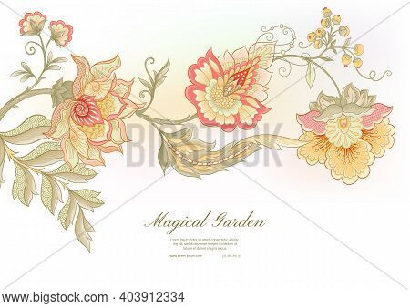Fantasy Flowers In Retro, Vintage, Jacobean Embroidery Style. Template For Wedding Invitation, Greet