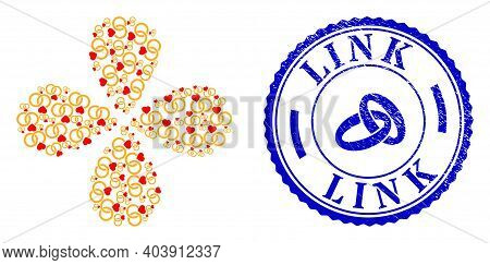 Marriage Rings Explosion Flower Cluster, And Blue Round Link Unclean Stamp Print With Icon Inside. E