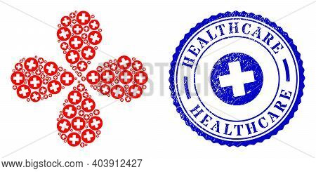 Healthcare Twirl Spin, And Blue Round Healthcare Dirty Stamp With Icon Inside. Object Flower With 4
