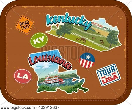Kentucky, Louisiana Travel Stickers With Scenic Attractions And Retro Text On Vintage Suitcase Backg
