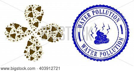 Fetid Shit Curl Flower With Four Petals, And Blue Round Water Pollution Scratched Seal With Icon Ins