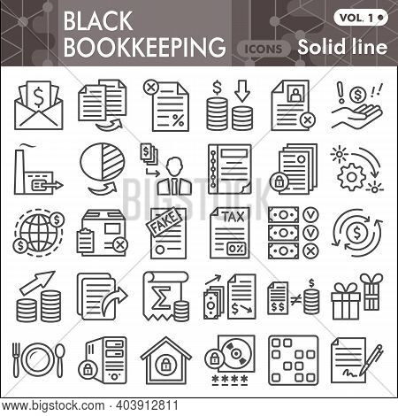 Black Bookkeeping Line Icon Set, Financial Management Symbols Collection Or Sketches. Accounting Lin