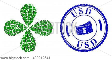 Dollar Bills Exploding Abstract Flower, And Blue Round Usd Rubber Badge With Icon Inside. Object Flo