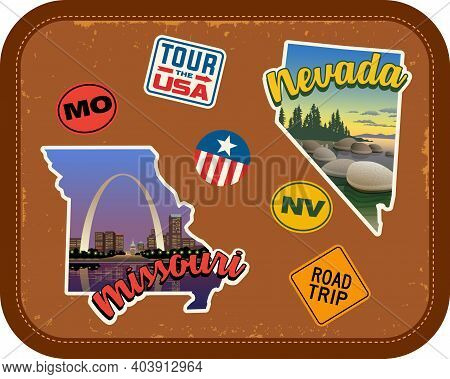 Missouri, Nevada Travel Stickers With Scenic Attractions And Retro Text On Vintage Suitcase Backgrou