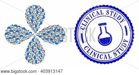 Analysis Flask Swirl Flower With Four Petals, And Blue Round Clinical Study Rubber Stamp Print With