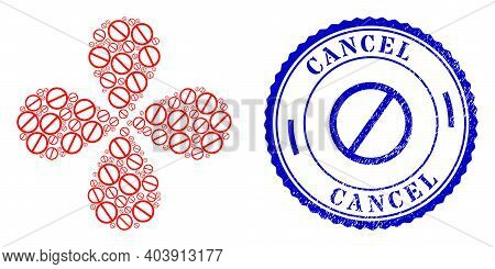 Cancel Twirl Spin, And Blue Round Cancel Dirty Stamp Seal With Icon Inside. Element Flower With 4 Pe