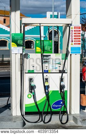 Lisbon, Portugal - Feb 10, 2018: Front View Of Gas Pump Bp British Petroleum With Ultimate Formula -