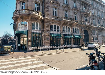 Strasbourg, France - Feb 16, 2019: Empty Cafe Broglie Early In The Morning In Central Strasbourg Wit