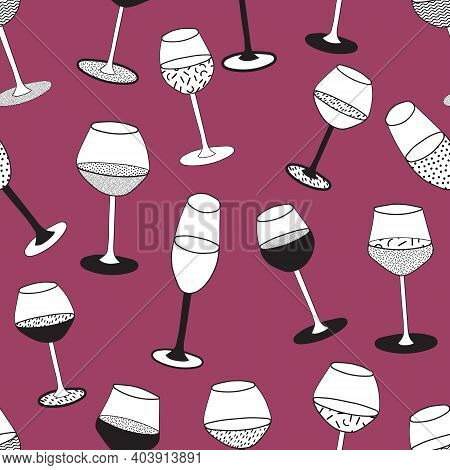 Doodle Cartoon Hipster Style Black And White Vector Seamless Pattern Illustration. Variety Of Wine G