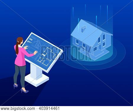 Isometric House Architectural Project. Virtual Interactive Interface. Engineer Uses The Virtual Inte