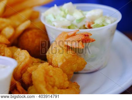 Fresh Fried Shrimp With Fries And Cole Slaw
