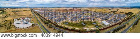 Melbourne, Australia - Circa January 2020: Wide Aerial Panorama Of Rockbank Suburb Near The Western