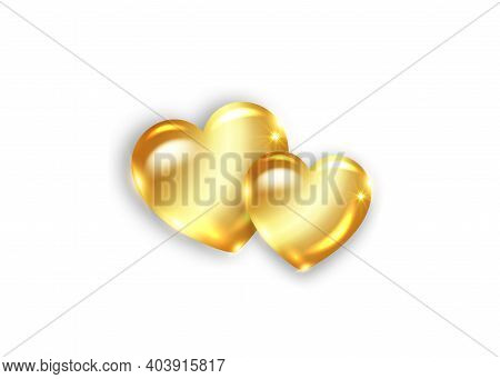 Two Amber Hearts. Happy Valentine's Day. Gold Glossy Amber Heart. Love Concept. Elegant Shiny Jewelr