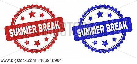 Rosette Summer Break Stamps. Flat Vector Scratched Stamps With Summer Break Phrase Inside Rosette Sh