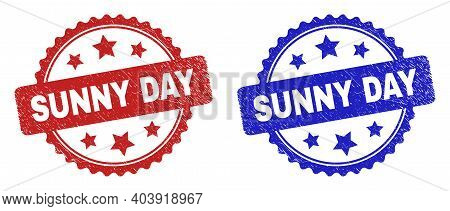 Rosette Sunny Day Seal Stamps. Flat Vector Scratched Seal Stamps With Sunny Day Phrase Inside Rosett