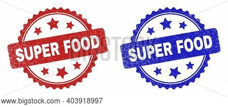 Rosette Super Food Watermarks. Flat Vector Scratched Seal Stamps With Super Food Message Inside Rose