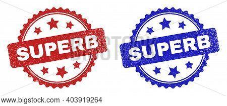Rosette Superb Seal Stamps. Flat Vector Textured Seal Stamps With Superb Phrase Inside Rosette Shape