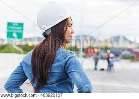 Woman Engineer Entrepreneur Construction Industry Worker. Female Engineer Working Refinery Oil Plant