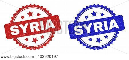 Rosette Syria Seal Stamps. Flat Vector Distress Stamps With Syria Text Inside Rosette With Stars, In