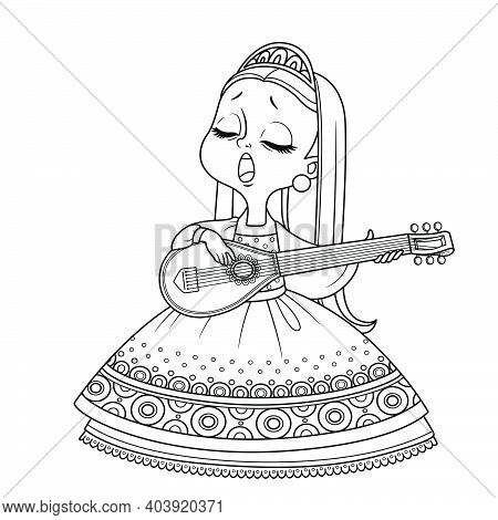 Cute Princess Sings And Plays The Lute Outlined For Coloring Book