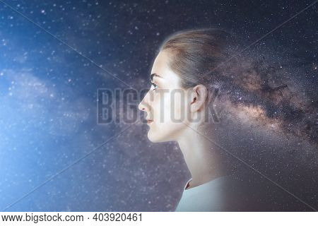 Futuristic Goal And Solution Think Tank Concept, Double Exposure Overlay Images Of Attractive Woman