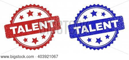 Rosette Talent Seal Stamps. Flat Vector Textured Seal Stamps With Talent Message Inside Rosette With