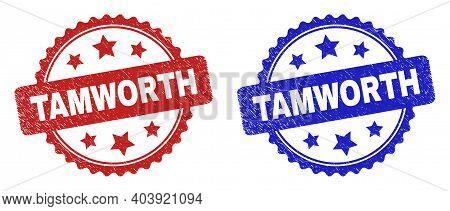 Rosette Tamworth Watermarks. Flat Vector Textured Watermarks With Tamworth Message Inside Rosette Sh