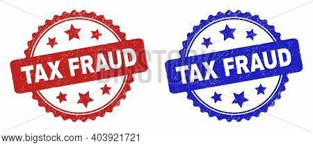 Rosette Tax Fraud Seal Stamps. Flat Vector Textured Seal Stamps With Tax Fraud Message Inside Rosett